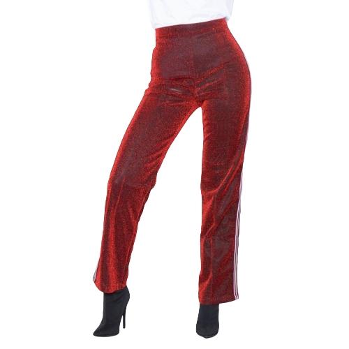 Pantalones de mujer Metallic Pantalones de pierna recta Side Stripe Pantalones de cintura elástica Casual Red / Green