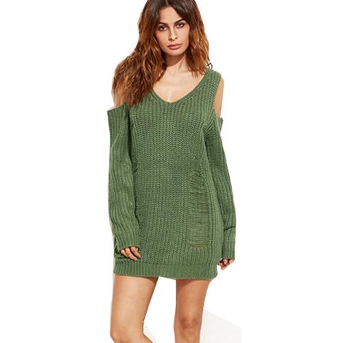 Suéter de punto suelto de mujer Hombro frío Destruido Agujeros con cuello en V de manga larga Cálido Pullover Tops Punto