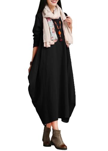 Mulheres étnicas, vestido de algodão sólido, pescoço redondo, manga 3/4, solta, baggy, vintage, vestido de vestido maxi, uma peça