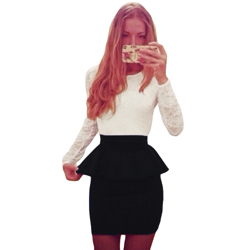 Sexy Women Bandage Bodycon Dress Lace Splice Peplum Cintura Round Neck Long Sleeve Evening Party Mini Dress Clubwear