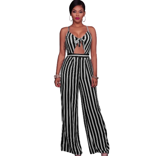 Mulheres Jumpsuit Romper Spaghetti Strap Striped Lace Up Verão Overalls Backless Sexy Playsuit