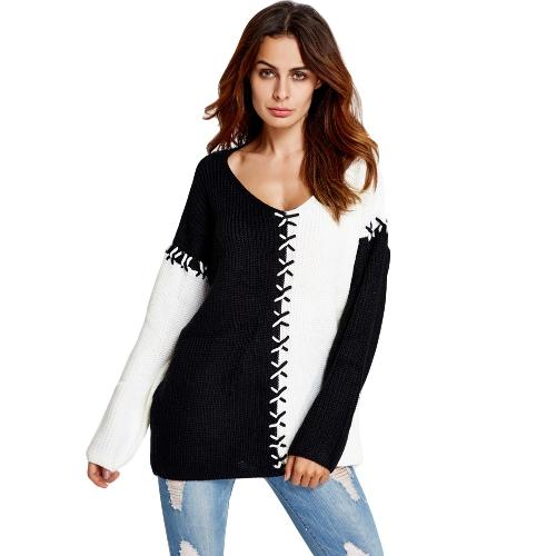 Frauen Strickpullover mit V-Ausschnitt Pullover Pullover Kontrast Langarm lose beiläufige Strickoberteil