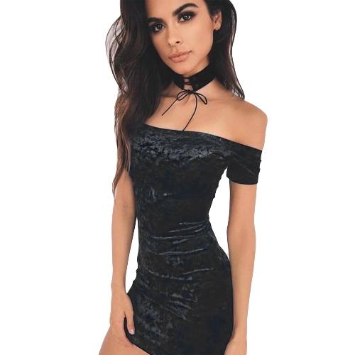 Las mujeres Bodycon terciopelo Mini vestido de hombro de manga corta sólido club nocturno Slash cuello vestido de lápiz