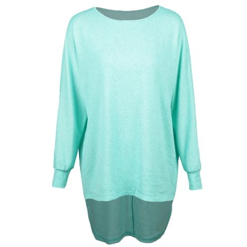 Las mujeres de la moda rematan el dobladillo redondo del dobladillo del tamaño extra grande del cuello del tamaño extra grande azul / verde de las camisetas de las mujeres de la manera