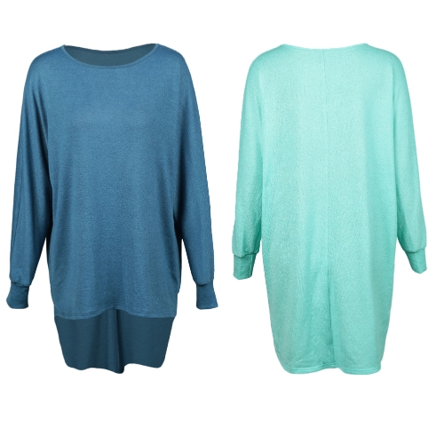 Fashion Women T-Shirts Tops Big Size Round Collar Dip Hem Casual Plus Size Tees Blue-Green