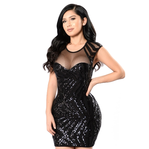 New Sexy Women Sequin Bodycon Mini Dress Sheer Mesh Cutout O Neck Sleeveless Clubwear Party Dress