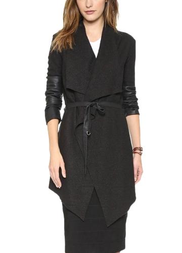 Autumn Winter Women Jacket Coat Large Lapel PU Leather Splice Overcoat Long Sleeve Casual Outerwear Black