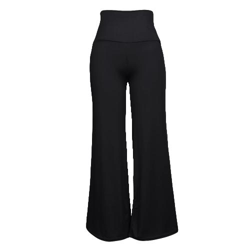 Mulheres Casual Calças de perna larga de cintura alta Calças laterais com calças largas