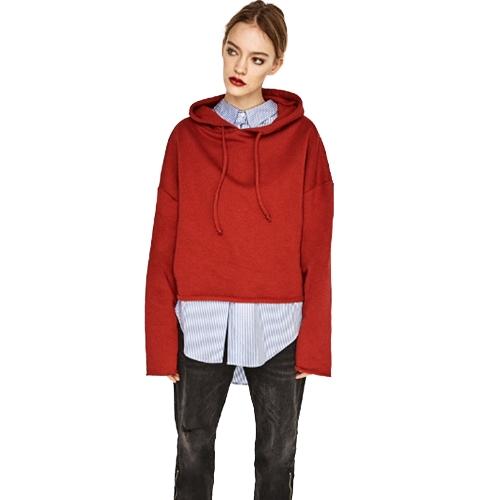 Sudadera con capucha de gran tamaño de la moda de las mujeres Sudadera con capucha con cordón de la manga larga suelta sólido suéter superior negro / rojo