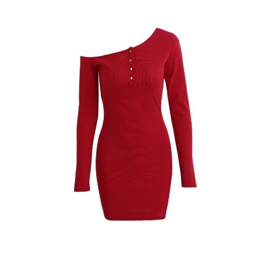 Hombro del botón Nuevo atractivo de las mujeres bodycon vestido de punto elástico Off mangas largas de la envoltura del mini vestido