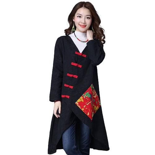 Frauen Ethnische Mantel Baumwolle Leinen mit V-Ausschnitt Asymmetrische Langarm Cheongsam Mandarin Weinlese lose Outwear