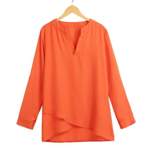 Nova Moda Mulheres Blusa Chiffon V-Neck Laminados luva Cruz Hem Sólidos parte superior da camisa alaranjada