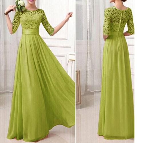 Cordón de la gasa vestido de las mujeres de la media manga delgada larga maxi del vestido de noche del partido de la princesa elegante de una sola pieza