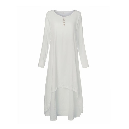 New Fashion Women Casual Loose Dress Solid Long Sleeve Cotton Linen Boho Long Maxi Dress