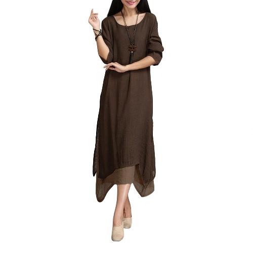 Las mujeres de algodón de lino vestido de la vendimia del contraste de doble capa floja ocasional de Boho largo más el tamaño de vestido maxi retro