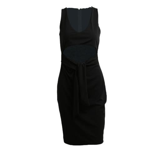 Vestido atractivo de las mujeres de inmersión con cuello en V sin mangas de la cintura ahueca hacia fuera del club nocturno ajustado de Midi vestido Borgoña / Gris / Negro
