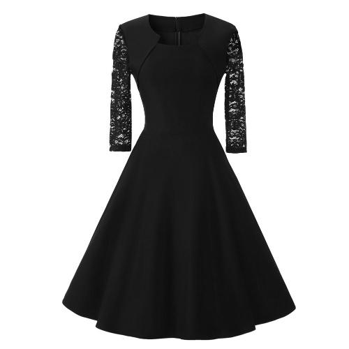 Vestido de la vendimia mujeres del cordón de tres cuartos de la manga del O-Cuello de una línea trasera de la cremallera del vestido de partido elegante retro