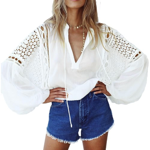Mulheres Sexy Sheer Chiffon Crochet Lace Blusa solto oco Out V-Neck Lanterna mangas compridas Casual Top Camisa Branca