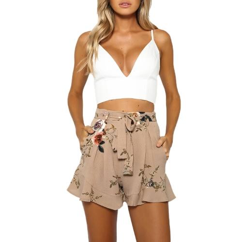 Pantaloncini con stampa floreale delle nuove donne Elegante vita con increspato chiusura con cerniera laterale con cravatte in cachi