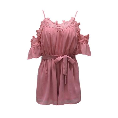 Frauen aus Schulter Chiffon Overall gehäkelte Spitze V-Ausschnitt elastische Taille lose Playsuit Spielanzug weiß / rosa