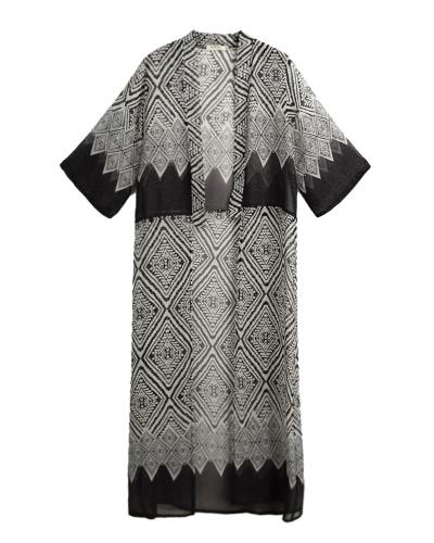 Las mujeres de gasa Kimono rebeca impresión geométrica playa Boho prendas de vestir de verano bikini suelto cubrir hasta azul / negro