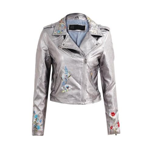 Moda mujer bordado flor PU Faux chaqueta de cuero abrigo