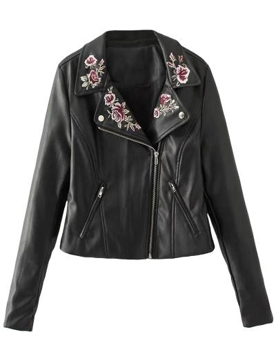 Women PU Leather Jacket Floral Embroidery Zipper Biker Jacket