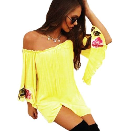 Summer Women Loose T-Shirt Slash Neck Off Shoulder