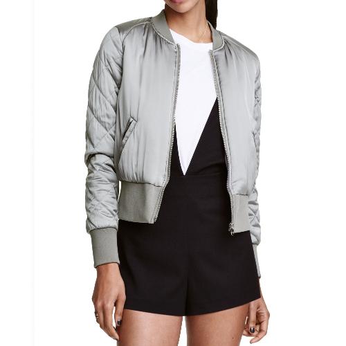 Mode Frauen Satin Bomber Jacke gesteppte Langarm Baumwolle kurze Jacke Casual gepolsterte Oberbekleidung Mantel