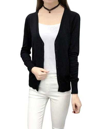 Nuevas mujeres sólida chaqueta de punto de punto de la chaqueta de punto de la chaqueta de punto del V-Cuello de la manga