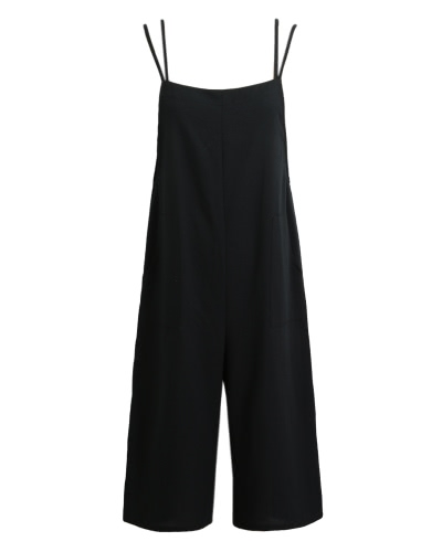 Women Loose Suspender Trousers Solid Color Casual Overalls Jumpsuit Female Long Pants Pockets Playsuit Rompers Black/Blue