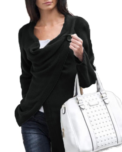 Women Knitwear Solid Color Asymmetric Draped Irregular Long Roll Up Sleeve Casual Tops Sweatershit