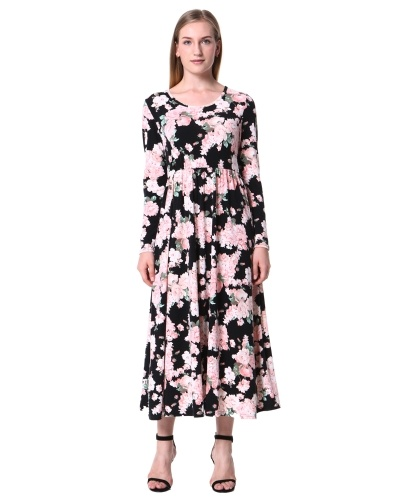 Mixfeer Women's Spring Fashion Printed Long Dress Three Quarter Sleeve Empire Flower Floor-length Dress