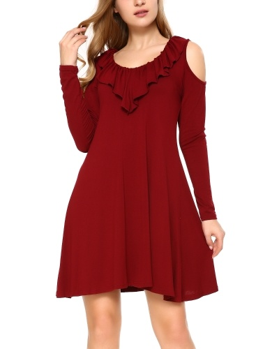 Women's Sexy Cross Neck Cold Shoulder Long Sleeve Swing Tunic Dress