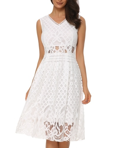 Women's V-Neck Vintage Floral Lace Sleeveless Cocktail Party Midi Dress