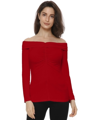 Sexy Slim Fit Stretchy Off Shoulder Long Sleeve Blouse Tops Shirt