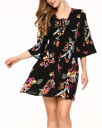 Floral Print Front Cross Lace Up Deep V-neck Flare Sleeve Loose  Dress  Black S
