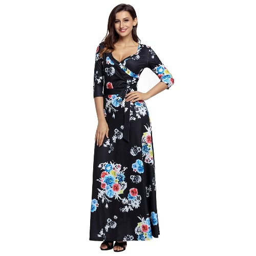 Boho estampado de flores de cuello profundo de cuello recortado manga delgada de mujeres con cinturón vestido largo