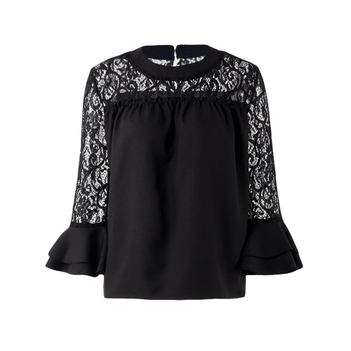 Frauen Chiffon Bluse Shirt Sheer Lace Ausschnitt O-Neck Rüsche Flare Hülle Solid Casual Loose Top