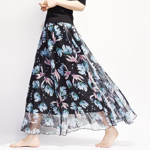 New Boho Mulheres Alinhadas Maxi Chiffon Floral Saia Alta Cintura Retro Saia Beach Tutu Saia Longa
