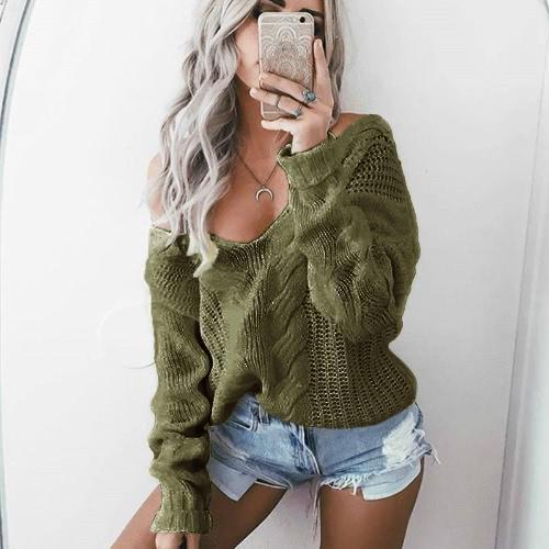 Nuevas mujeres Twist tejido suéter sólido V sexy cuello de manga larga flojo caliente jersey jersey de punto