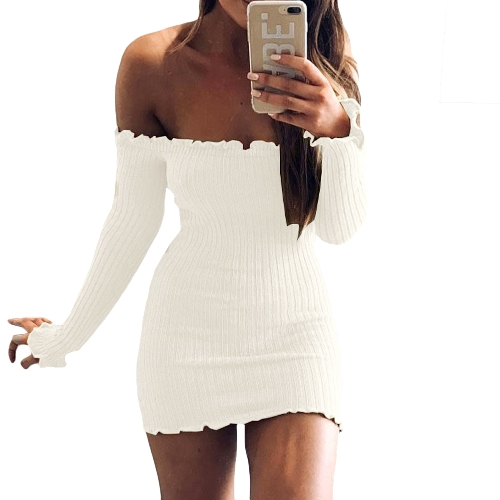 Sexy Women Bodycon Dress Off Shoulder Solid Long Sleeves Club Party Clubwear Mini Dress
