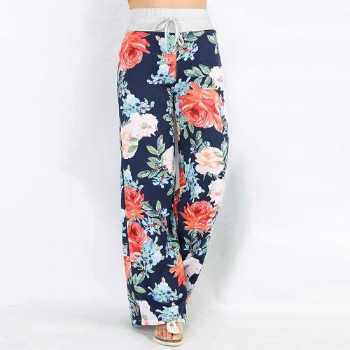 Damskie spodnie dorywczo luźne boho z motywem kwiatowym w paski z nadrukiem amerykańskiej flagi wysokiej elastycznej talii długie spodnie z szerokimi nogawkami