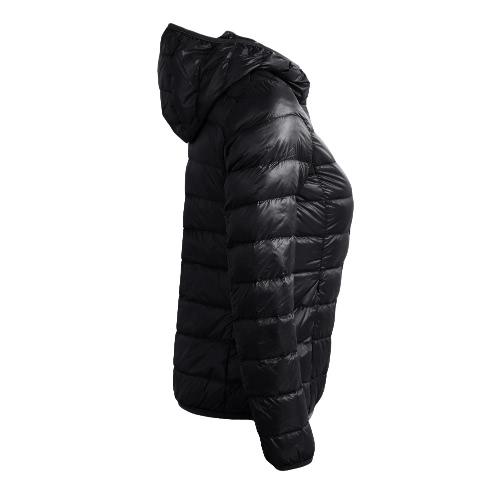 New Winter Autumn Women Duck Down Hooded Jacket Zipper Long Sleeves Slim Light Down Coat