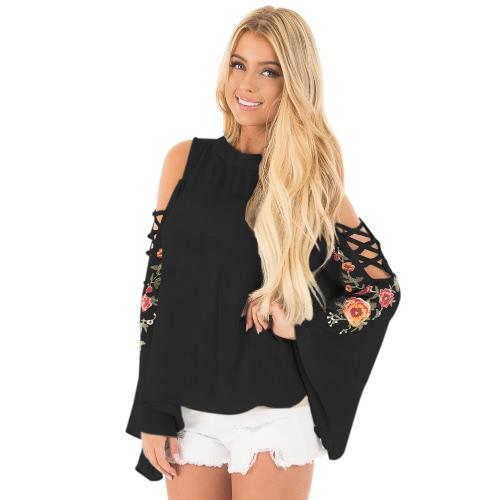 Moda mujer bordado cruzado fuera de la blusa de la manga de campana del hombro Floral ata la blusa floja Tops