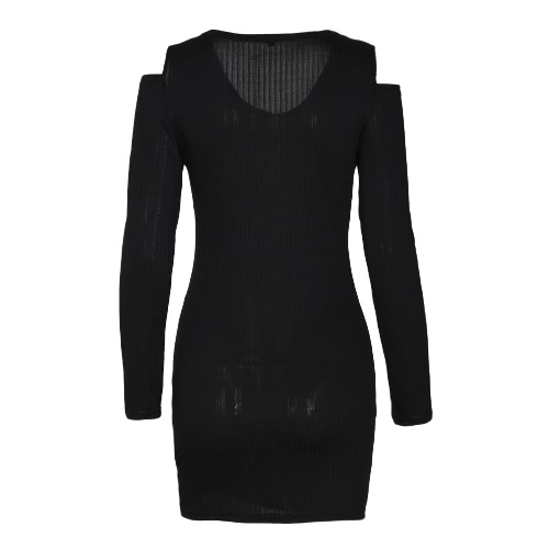 Frauen-Ausschnitt-Schulter-V Ansatz-dünnes Hüllen-Kleid-festes langes Hülsen-beiläufiges Partei-Minikleid