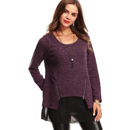 Otoño Mujer Blusa suelta falso de dos piezas Splice Tops O cuello Breve de malla de camisetas Pullover Suéter Negro / Gris / Púrpura