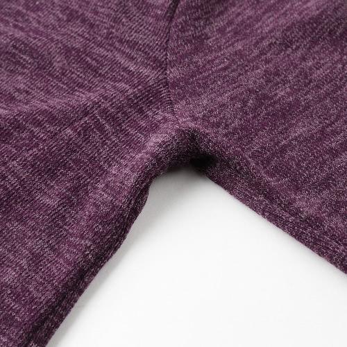 Осенние женщины Loose Blouse Fake Двухшпиндельные вершины для сращивания O Шея Краткие сетчатые майки Пуловерный свитер Черный / Серый / Фиолетовый фото