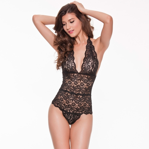 Mulheres Sexy Recortado Lace Teddy Lingerie Profunda V Alto Corte Backless See-through Nightwear Sleepwear