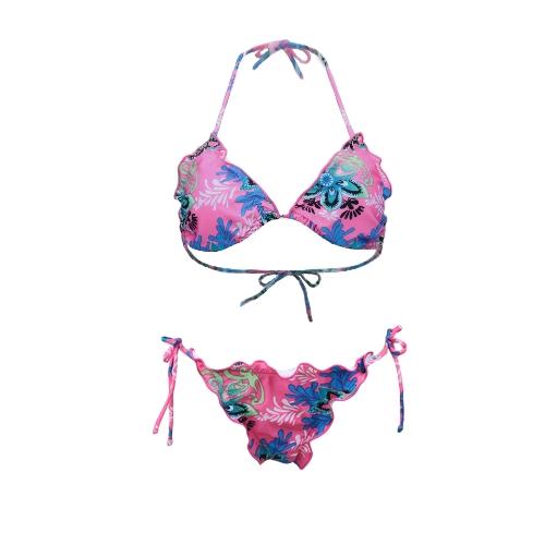 Sexy Frauen Bikini Set Floral Print Neckholder Top Scrunch unten Beach Bademode Badeanzug Badeanzug Pink